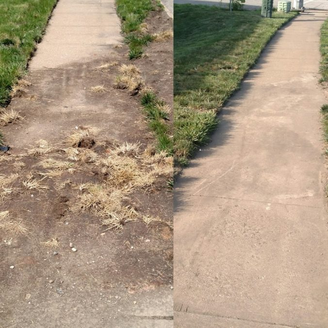 Before and after comparison of debris removed from sidewalk by VDOT.